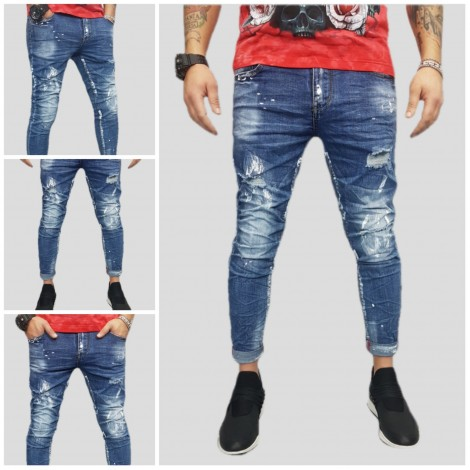 JEANS UOMO ELASTICO PITTURA STRAPPI DENIM MR268 42,44,46,48,50,52