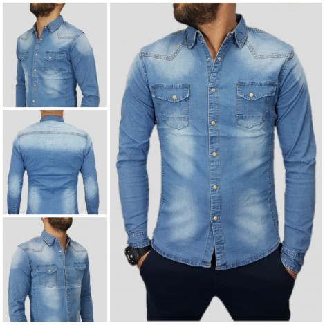 CAMICIA JEANS COLLO BOTTONI MADREPERLAELASTICA DENIM SLIM S,M,L,XL,XXL LN6815