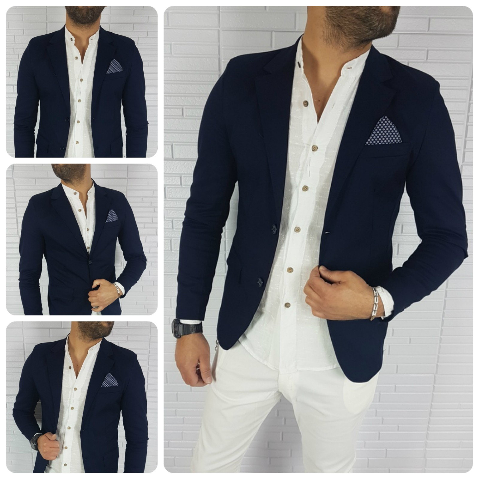 reputable site 7af75 2a762 GIACCA UOMO BLU SLIM FIT TOPPE