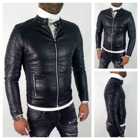 GIUBBINO ECOPELLE BIKERS NERO