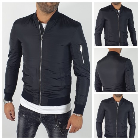 GIUBBINO BOMBER NERO SLIM FIT
