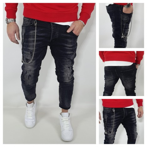 JEANS UOMO NERO ZIP LATERALE CATENA